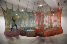Vibrantly colored installations of crocheted polypropylene and polyester cord at Tanya Bonakdar Gallery, NYC.