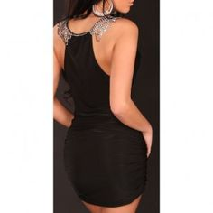 33,00 € ----- Robe de soirée noire au col recouvert de strass. Resplendissez dans cette robe de soirée noire au col recouvert de strass.