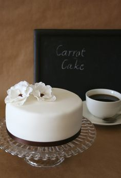 white carrot cake by Painted By Cakes