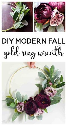 DIY Modern Fall Gold Ring Wreath - Making Joy and Pretty Things - - See how I used a gold macrame ring to make a modern fall wreath. It's the perfect DIY modern fall wreath with moody fall colors. Gold Wreath, Diy Fall Wreath, Fall Wreaths, Floral Wreaths, Door Wreaths, Tulle Wreath, Burlap Wreaths, Ribbon Wreaths, Summer Wreath