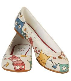 Cat Party Shoes by DOGO ♥ Idea for painting shoes (if ever I get to it lol)