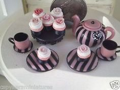 Dollhouse Miniature One Inch Scale pink/black tea set by CSpykersMiniatures