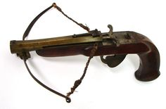 """That's right… a fucking crossbow pistol. """"Probably German. Approximately .41 caliber. Barrel is a swamped brass hexagon type and is 5 1/2"""" long."""""""