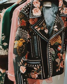 Floral and metal embroidery on leather Jacket. 12/05/2016