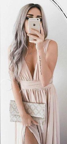 #spring #outfits Blush V-neck Split Maxi Dress + Printed Clutch