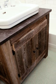 The Friendly Home: The Reclaimed Wood Vanity