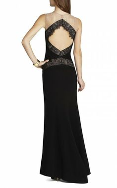 Black Bcbg Aida Sleeveless Gown With Lace Contrast