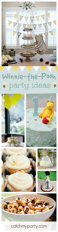 Have a look at this adorable Winne-the-Pooh 1st birthday party! The bumble bee cupcakes are so cute! See more party ideas and share yours at CatchMyParty.com