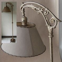 Antique lamp shade replacement scalloped hex fitter bell mica shade antique bridge arm floor lamp aloadofball Image collections