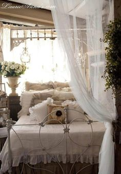 Beautifully rustic! I could see your attic room like this. And we can paint the ugly table to go with your iron bed.