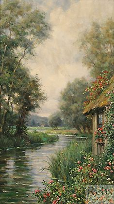 Louis Aston Knight  (1873 - 1948)  Cottage by the River, Launay  Oil on canvas  18 1/2 x 10 3/4 inches  Signed