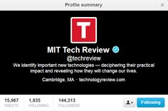 @MIT Technology Review Top 10 People To Follow On Twitter For Technology News and Updates