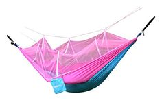 WoneNice Portable Nylon Fabric Travel Camping Hammock with Mosquito Net 853 x 46 ft  tree straps Sky BluePink *** You can get more details by clicking on the image. Note: It's an affiliate link to Amazon