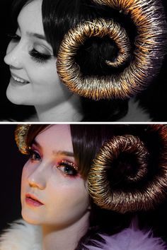 DIY Ram Horns and Aries Makeup Tutorials from Klaire de Lys.You can find the DIY Ram Horns Tutorial post here and the video tutorial here. The horns are made of plastic shopping bags, wire, cling wrap and spray paint. You can find the DIY Aries...