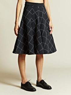 J.w. Anderson Jw Anderson Womens Top Stitch Box Pleat Skirt in Black