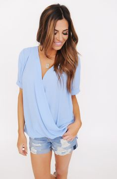 Chiffon Wrap Front Blouse- Blue - Dottie Couture Boutique