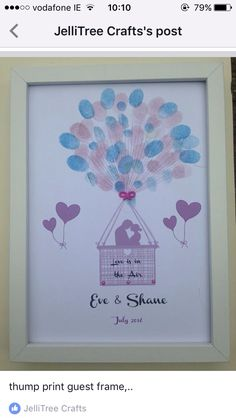 Thumbprint frame , any design and colour can be created