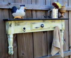 Rustic, Cottage Style Display Shelf, Towel Bar Or Coat Rack. $65 on Etsy. From an old coffee table.
