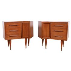 Pair of Angled Mid-Century End Table/Nightstand | From a unique collection of antique and modern night stands at https://www.1stdibs.com/furniture/tables/night-stands/