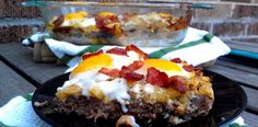 #paleo Breakfast Meatza: 1lb Bison Breakfast Sausage;   7 eggs (1 egg as the binder, the rest to top your meatza with);   6-8 slices of bacon, diced;   1/2 sweet potato or yam, diced (the smaller, the faster it will cook);   1/2 yellow onion, diced;   1 garlic clove, minced;