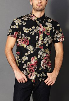 Flowery Shirts Mens 21 Slim Fit Floral Shirt Floral And Black Summer Outfits, Casual Outfits, Men Casual, Look Man, Sartorialist, Floral Fashion, Petite Fashion, Curvy Fashion, Printed Shirts