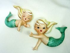 2 Mid Century 1950s Vintage Lefton MERMAIDs Bathroom Wall Plaques 11576 JAPAN | eBay
