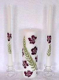 pressed flower wedding candles