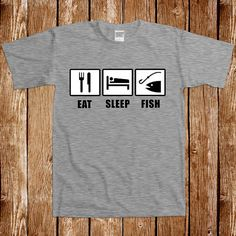 Eat Sleep Fish T shirt Fathers Day Fishing Outdoors Gift For Him Tee Dad Sports Camping Angler Humor Joke Camping Hook Christmas Present Hunting