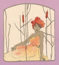 Girl with purple surrounds  Raphael Kirchner  1900