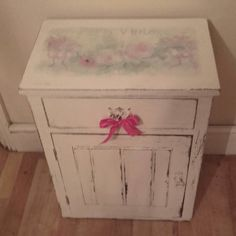 vintage shabby chic , paris theme with shabby roses painted country look cupboard .x