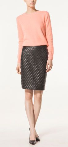 Quilted leather skirt, Massimo Dutti