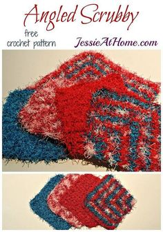 Angled Scrubby washcloth in 2 sizes - free crochet pattern by Jessie At Home: