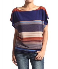 $19.99 S~3X Dolman Sleeve STRIPE TOP Printed Boat Neck Loose Fit Kn