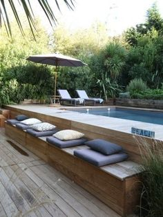 Popular Above Ground Pool Deck Ideas. This is just for you who has a Above Ground Pool in the house. Having a Above Ground Pool in a house is a great idea. Tag: a budget small yards Popular Above Ground Pool Deck Ideas. Above Ground Pool Decks, In Ground Pools, Rectangle Above Ground Pool, Diy In Ground Pool, Above Ground Pool Landscaping, Above Ground Swimming Pools, Modern Landscaping, Backyard Landscaping, Backyard Ideas