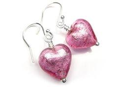 Murano Glass Heart Earrings - Rose