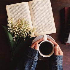 книга, кофе, наслаждайся, цветы, любовь, читание, расслабляться