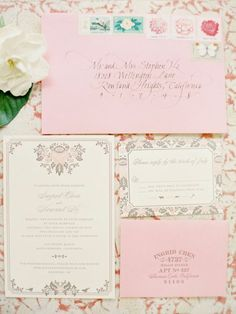 Pink and very pretty. Love the calligraphy and the collection of stamps on the envelope, too.