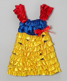 Take a look at this Yellow & Red Princess Ruffle Dress - Infant, Toddler & Girls by Diva Daze on #zulily today!