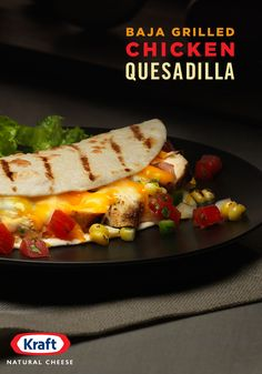 Give your cheesy quesadillas a fresh kick with this Baja-inspired recipe featuring grilled corn, savory cumin, zesty lime-marinated chicken breast, pico de gallo & KRAFT Shredded Colby & Monterey Jack Cheese Blend.