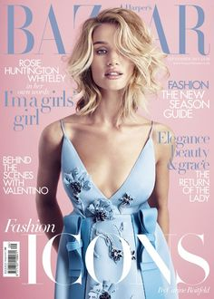 Rosie Huntington-Whiteley by Alex Lubormirski for Harper's Bazaar UK September 2015 cover - Prada Fall 2015