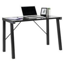 Skrivebord KETTINGE glass/metall svart | JYSK