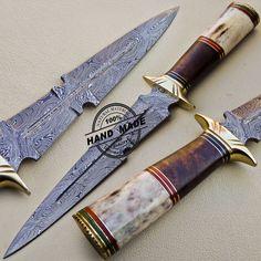 Damascus Dagger Knife Custom Handmade Damascus Steel Hunting Dagger Knife 1078