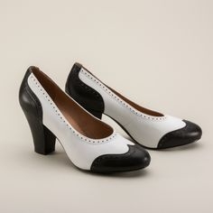 Peggy 1940s Spectator Pumps by Royal Vintage (Black/White)