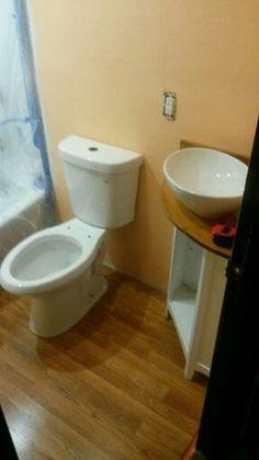 New water saving toilet and space saving corner vanity Peach Bathroom, Corner Vanity, Save Water, Space Saving, Toilet, Flush Toilet, Toilets, Toilet Room, Bathrooms