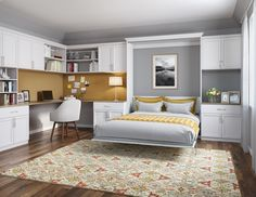Set up free consultation! - Murphy Beds & Wall Bed Designs and Ideas by California Closets Build A Murphy Bed, Murphy Bed Plans, Murphy Bed Office, Murphy Bed With Desk, Queen Murphy Bed, California Closets, Murphy-bett Ikea, Modern Murphy Beds, Guest Room Office