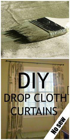DIY #dropcloth curtains - Debbiedoo's - #nosew