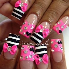 Hot pink and sassy! Holiday Nail Designs, Long Nail Designs, Cute Nail Art Designs, Holiday Nails, Summery Nails, Bright Nails, Bling Nails, Glitter Nails, Royal Blue Nails Designs
