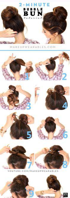 cómo rápida y fácil el peinado del bollo del ventilador para el medio tutorial de pelo largo