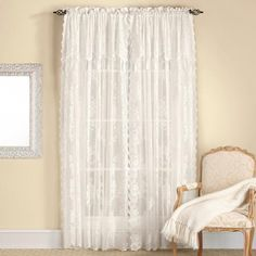 Carly Lace Curtain Panel With Attached Valance - White - RHF - View All Curtains Curtains With Attached Valance, Lace Curtain Panels, Bed Curtains, Lace Curtains, Valances For Living Room, Lace Valances, Curtain Length, Window Coverings, Window Treatments