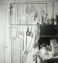 collection of homemade kitchen utensils, made out of wire by Alexander Calder in his home in Roxbury, Connecticut, btwn 1935-40  (photo by Herbert Matter, 1950)